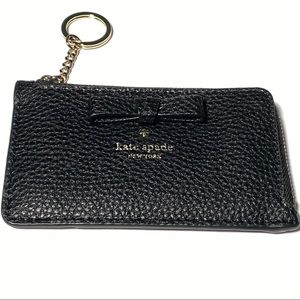 kate spade black leather card holder keychain